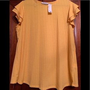 Yellow Blouse with ruffle sleeve